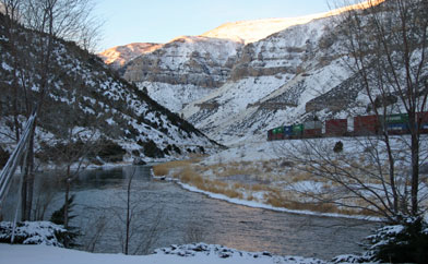 Train in Wind River Canyon