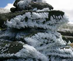Frost Crystals Grow on Rocks